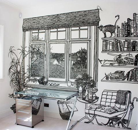 茶几 caddy 8  手绘墙画是许多设计师所喜爱的室内