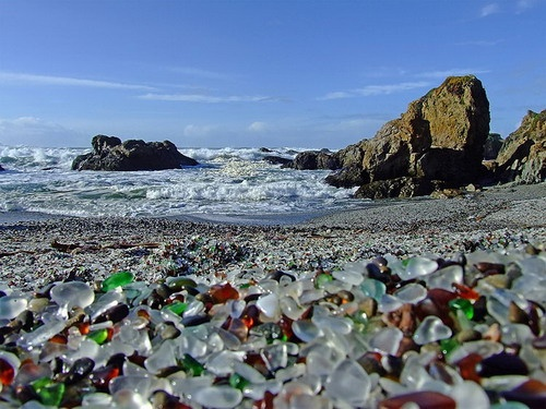 大自然造物主,加州布拉格堡的玻璃海滩