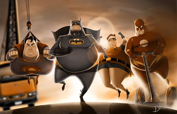 三月不减肥,四月徒伤悲看样子超级英雄们这次也只能徒伤悲了。图为墨西哥设计师Carlos Dattoli 的插画作品Fat Heros。发福后的超人、蝙蝠侠、罗宾和闪电侠神情严肃地向前冲,胖子拯救起地球来可一点儿也不含糊呢。