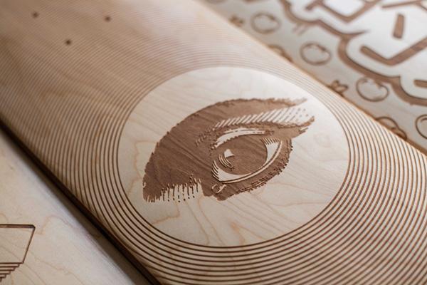 以激光雕刻设计打造个性滑板