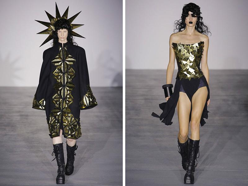 今年春夏 gareth 大量应用金色与黑色结合,夸张的衣领与头饰让整场秀图片