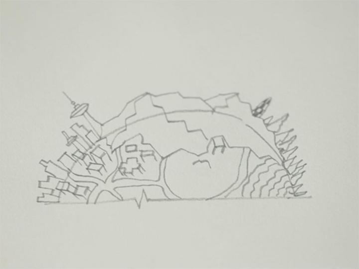 群落结构手绘线稿